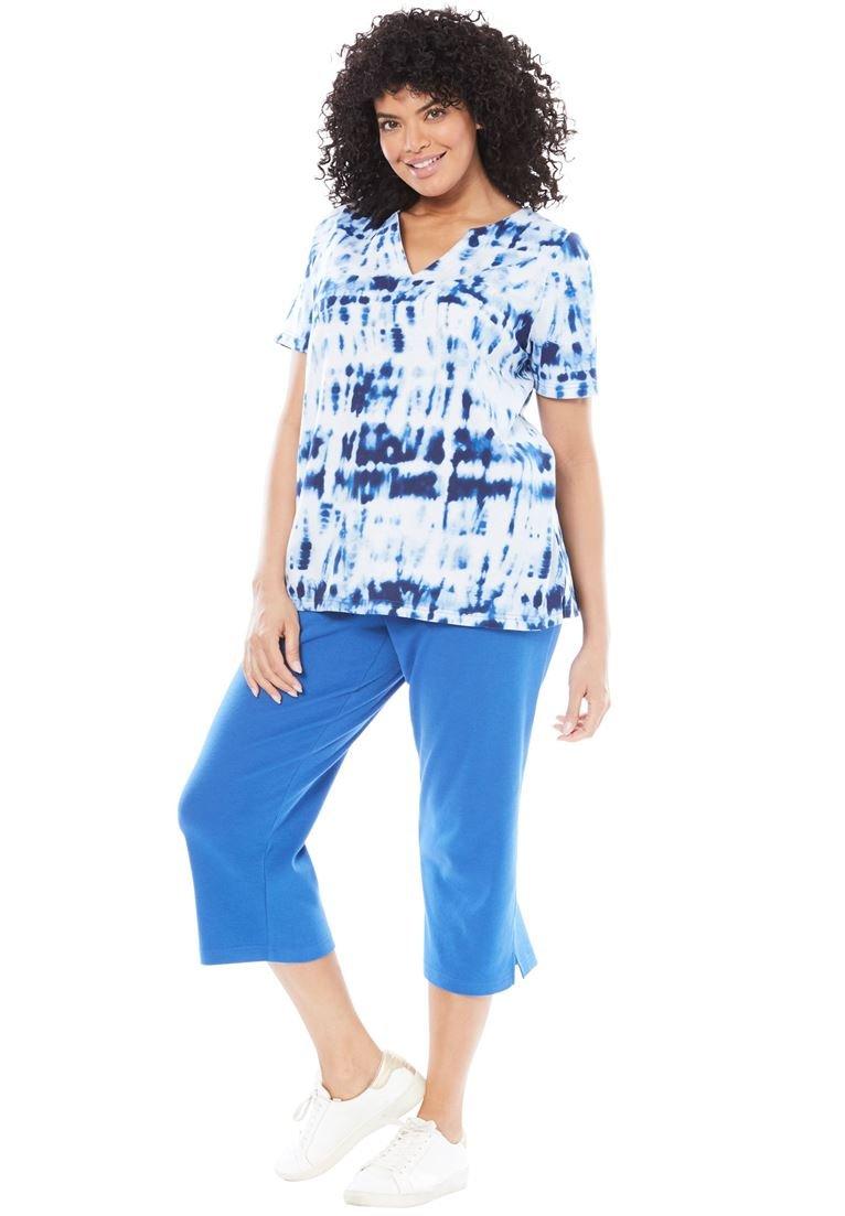 Women's Plus Size 2-Piece Kurta Tunic Set Sapphire Tie Dye,L