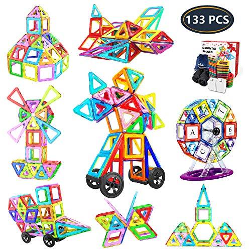 Jasonwell 133Pcs Magnetic Tiles Building Blocks Set for Boys Girls Preschool Educational Construction Kit Magnet Stacking Toys for Kids Toddlers Children Age 3 4 5 6 7 8 Year Old (Magna Sticks)