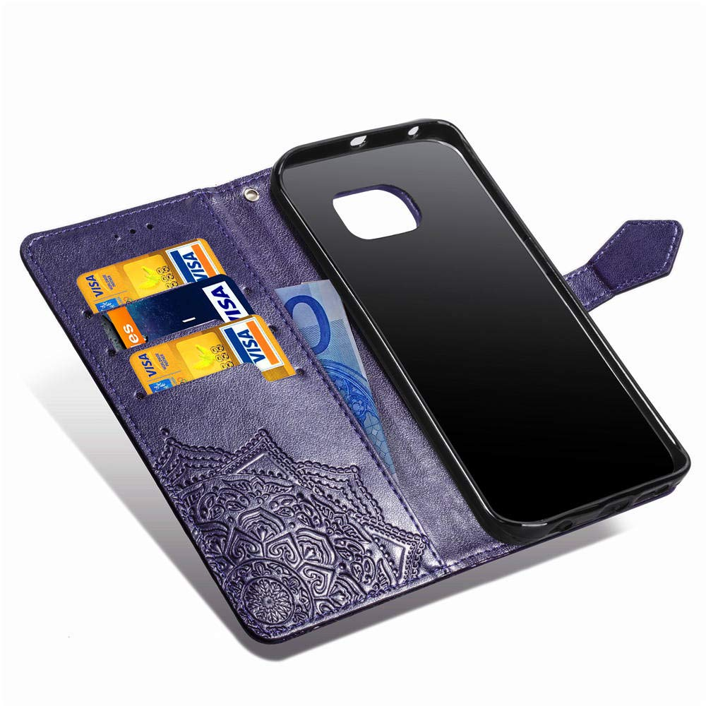 Galaxy S7 Edge Case,S7 Edge Wallet Case,Luxury Henna Mandala Floral Flower PU Leather Flip Folio Phone Protective Case Cover for Samsung Galaxy S7 Edge with Credit Card Slot Holder Kickstand,Purple