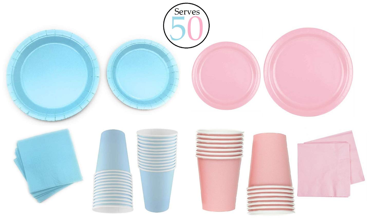 Serves 50 | Complete Party Pack | Light Blue and Light Pink | 9'' Dinner Paper Plates | 7'' Dessert Paper Plates | 9 oz Cups | 3 Ply Napkins | office parties, birthday parties, festivals, Gender Reveal Party Theme by Oojami