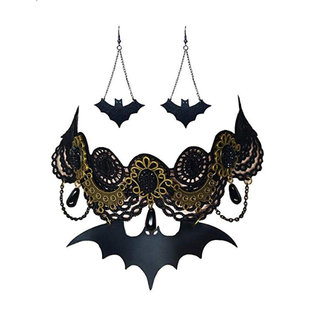 Vintage Retro Halloween Gothic Lolita Lace Choker Jewelry Necklace Earrings Sets HuntBeauty HB18092502-OS