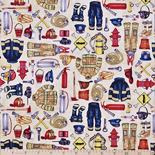 Firemen Fabric 5 Alarm Equipment in Ivory from Quilting Treasures 100% Premium Cotton Fabric by The Yard ()