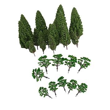 FLAMEER Mini Modelos Árbol Verde para Modelismo Ferrocarril Escena ...