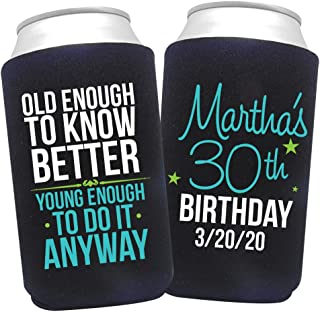 product image for Personalized Can Cooler Custom Can Coolies – Birthday Can Coolies - Fits 12-Ounce Cans and Bottles – Keeps Drinks Cold for Longer – Ideal for Travelling, Party Favors Old Enough 24 Pack