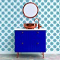 Tempaper SO10571 Soleil Removable Peel and Stick Wallpaper, Terracotta & Blue