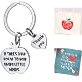 Teachers Keychain with Apple Bag, Thank You Teacher Gift, Inspirational Keyring