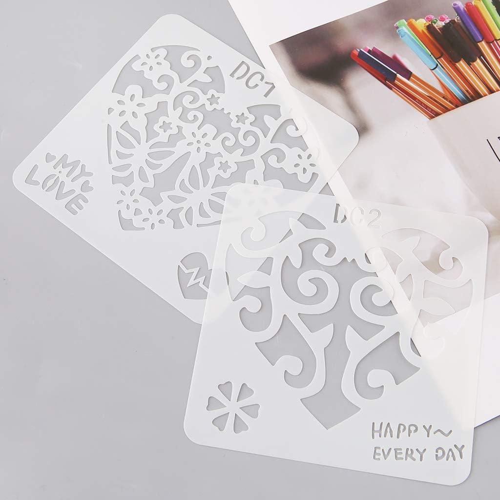 ruiruiNIE 12Pcs Fiore Cuore Stampi per Disegno Plastica Bambini Pittura Stencil Carta Fai da Te Arte Mestiere Carta Etichetta Scrapbook Segnalibro Giocattolo educativo
