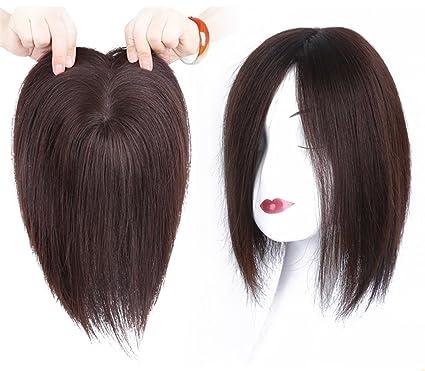 QIHAIR Peluca de pelo humano mono de 10 x 12 cm para mujer con clip en