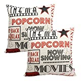 Queenie - 2 Pcs Meaningful English Writing Inspirational Words Quotable Quotes Decorative Pillowcase Cushion Cover for Sofa Throw Pillow Case 18 X 18 Inch 45 X 45 Centimeter (2, Movie Time)