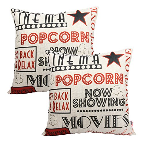 Queenie - 2 Pcs Meaningful English Writing Inspirational Words Quotable Quotes Decorative Pillowcase Cushion Cover for Sofa Throw Pillow Case 18 X 18 Inch 45 X 45 Centimeter (2, Movie -