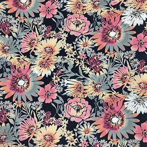 Navy Pink African Daisies Flower Printed on Crepe Chiffon Fabric