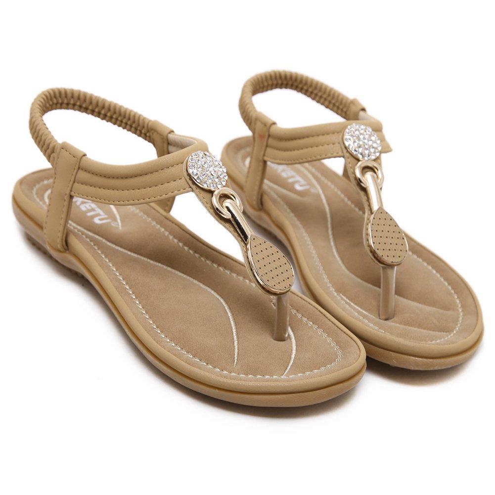 SANMIO Women Summer Flat Sandals Shoes,Bohemian T Strap Prime Thong Shoes Flip Flop Shoes by SANMIO (Image #7)