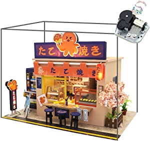 WYD Star Octopus Burning Japanese Style Shop Mini Mini Doll House Kit Assembled LED Light Model Wind and Gift with Dust Cover and Music
