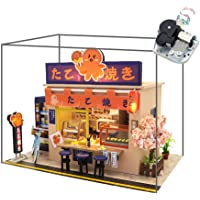 WYD Star Octopus Burning Japanese Style Shop Mini Mini Doll House Kit Assembled LED Light Model Wind and Gift with Dust…