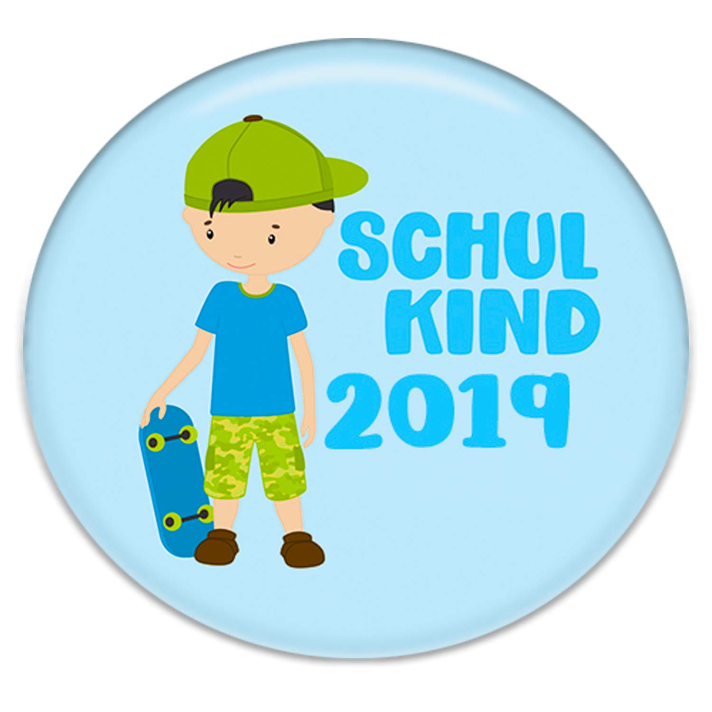 Motiv: Schulkind gr/üne Tafel Polarkind Button Anstecker Schulkinder Geschenk zum Schulanfang 38mm Handmade 30er Spar-Set