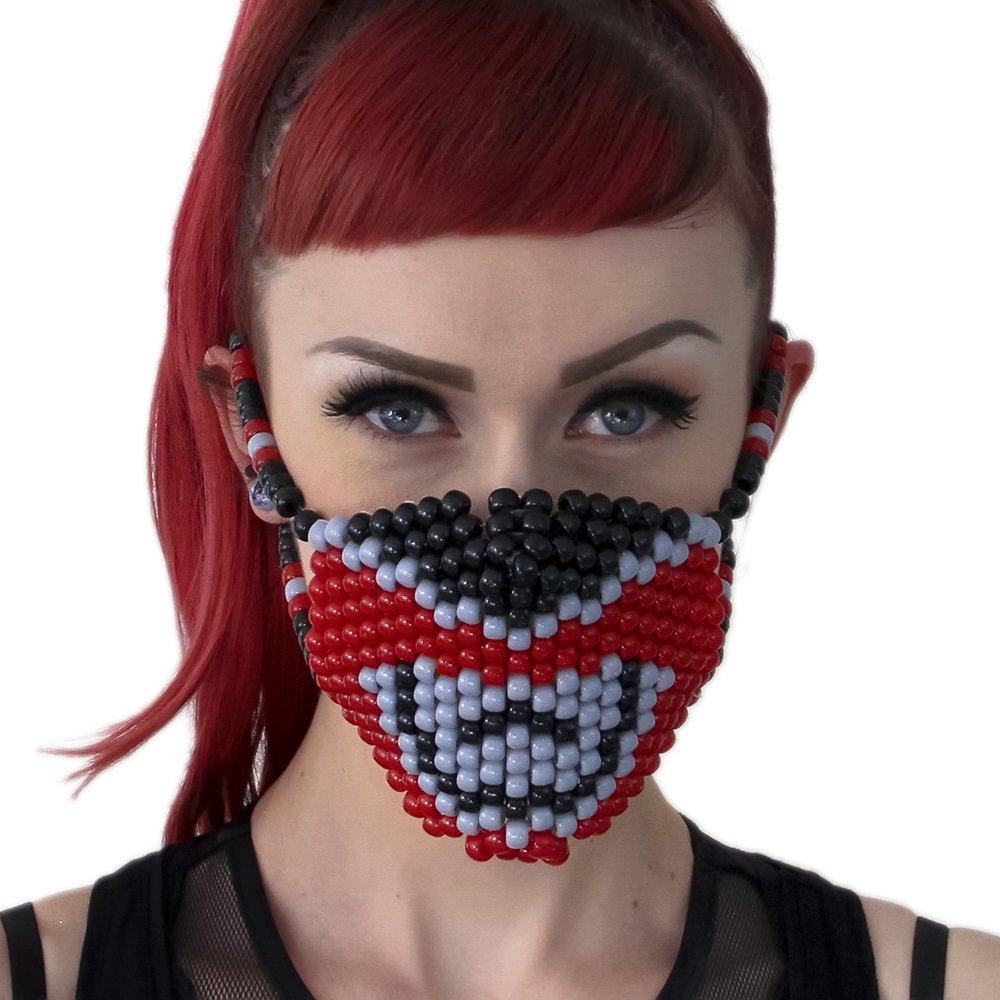 Red Power Ranger Surgical Kandi Mask by Kandi Gear