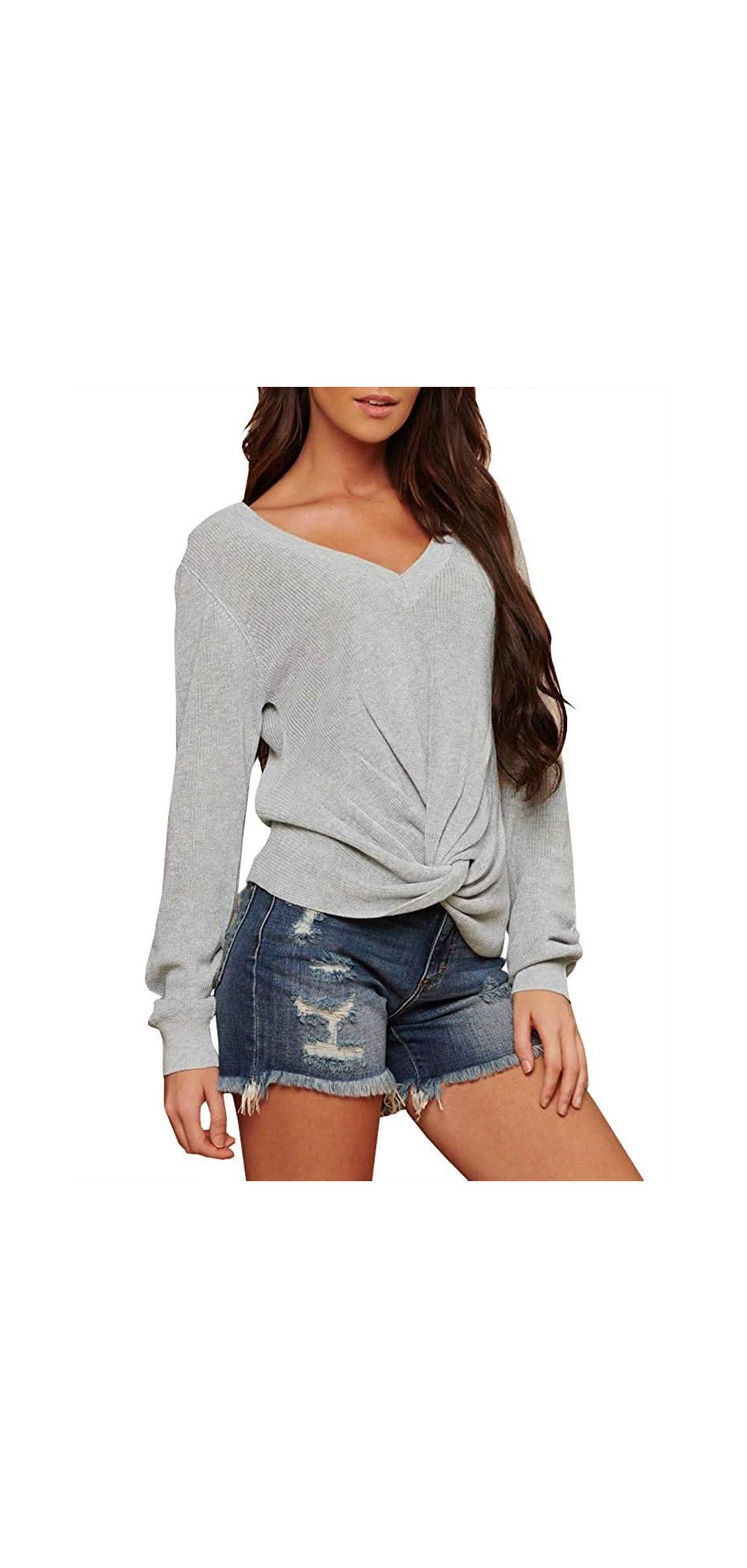 Womens Fall Basic Long Sleeve V Neck T-shirts Casual