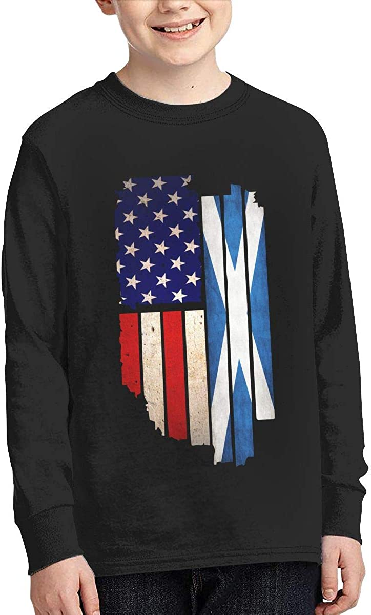 Teen Boys Girls Vintage USA Scotland Flag ComfortSoft Long Sleeve Shirt