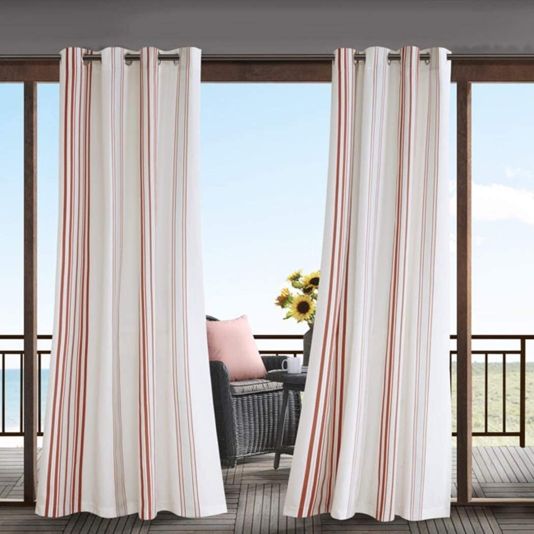 1Pieza 84 Coral Color Gazebo cortina Panel único, interior Pergola Drapes porche, deck, patio Protector de entrada de rayas Sunroom cortinas, color blanco Patrón de rayas Rugby colores fuera: Amazon.es: Jardín