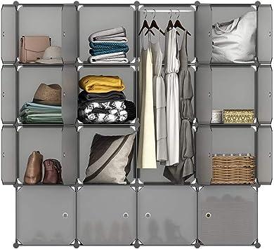 16 Cube Modular Closet Organizer Plastic Cabinet Wardrobe Cubby Shelving Storage