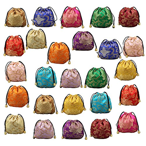 (Chinese Silk Brocade Embroidered Drawstring Jewelry Pouch Bag Colors Value Set 26 pcs)