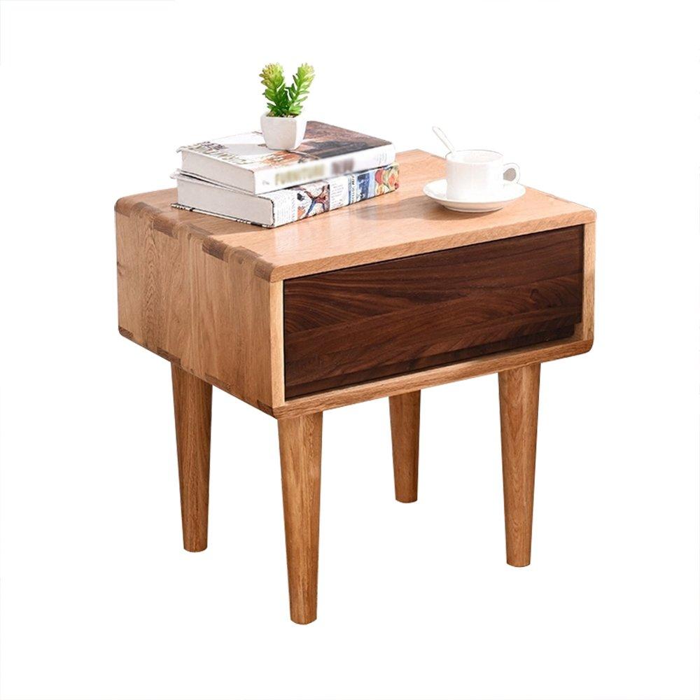ナイトテーブル ソリッドウッドのベッドサイドテーブルホワイトオークストレージロッカーベッドルームのベッドサイドキャビネット B07FBDKRXW
