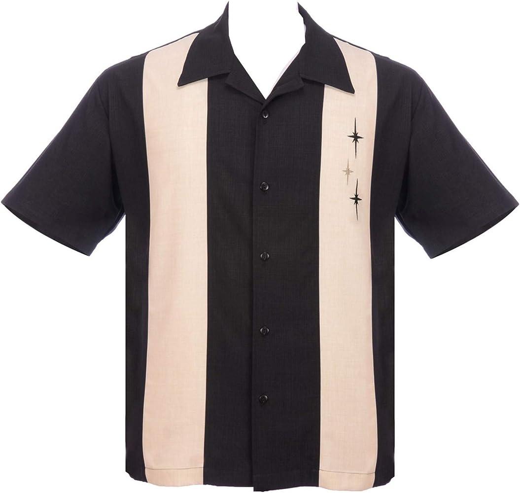 Steady Three Star Panel Camisa de Bolos Retro de Doble Panel con Botones para Hombre, Color Negro - Negro - 3X: Amazon.es: Ropa y accesorios