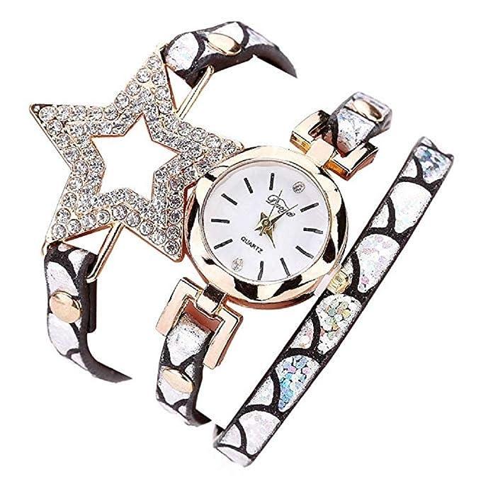 Reloj para Mujer, Brazalete de Relojes Cuero con pedrería a la Venta Liquidación Relojes de señora Relojes de Pulsera para Mujeres (Blanco): Amazon.es: ...