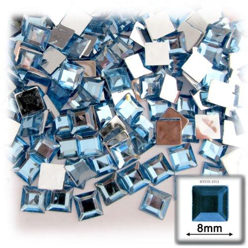 8sq Light Blue Color - The Crafts Outlet 144-Piece Flat Back Square Rhinestones, 8mm, Light Blue
