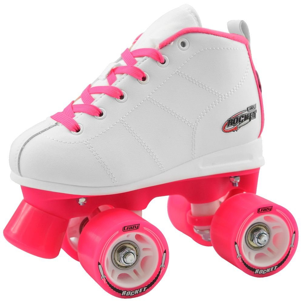 Crazy Skates Rocket Roller Skates for Girls | A Great Beginner Skate with Supportive Fit and Smooth Braking | White and Pink