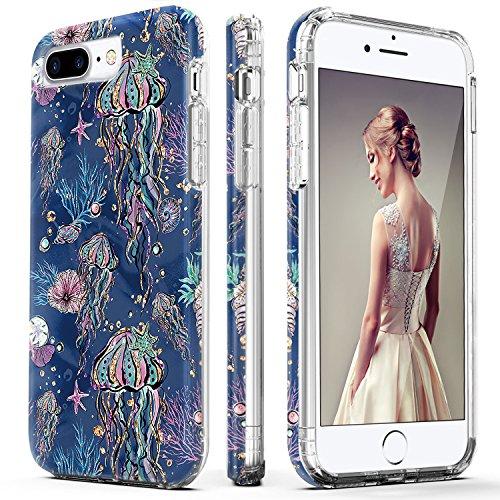 iPhone 7 Plus Case,iPhone 8 Plus Case,DOUJIAZ Shiny Jellyfish Pattern Hybrid Hard Back Soft TPU Raised Edge Shock Absorption Protective Case for iPhone 7 Plus/8 Plus