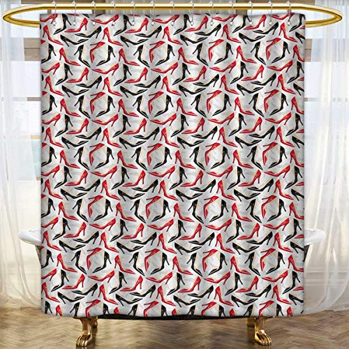 Lacencn Red And BlackShower Curtains Digital PrintingWomen Fashion Pattern With High Heel