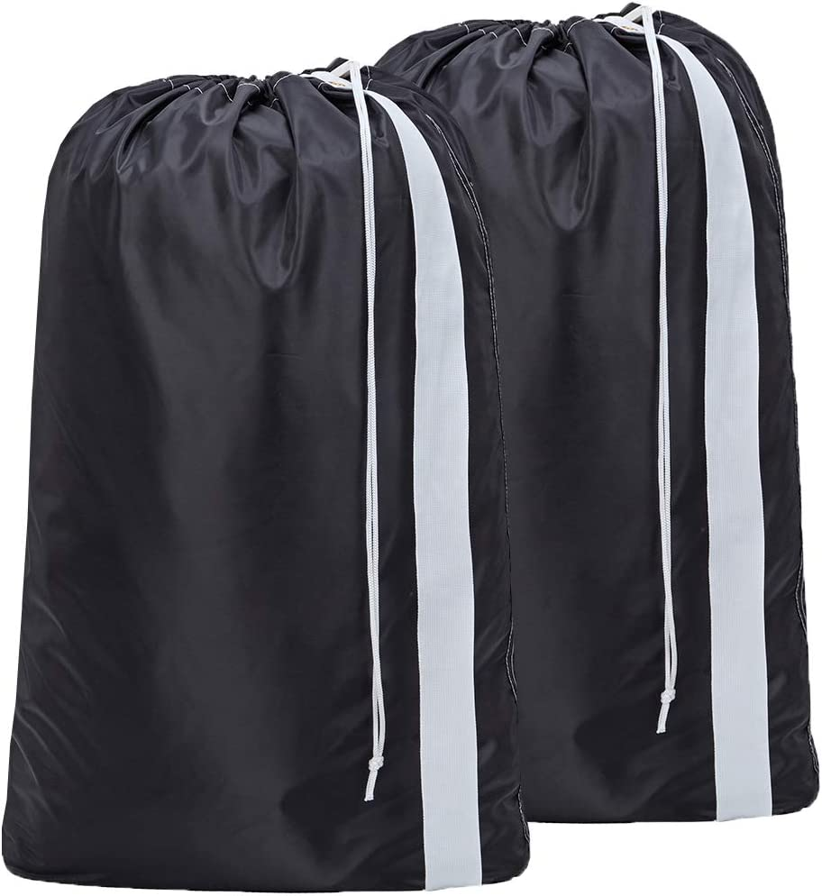 HOMEST 2 Pack XL Nylon Laundry Bag with Strap, Machine Washable Large Dirty Clothes Organizer, Easy Fit a Laundry Hamper or Basket, Can Carry Up to 4 Loads of Laundry, Black