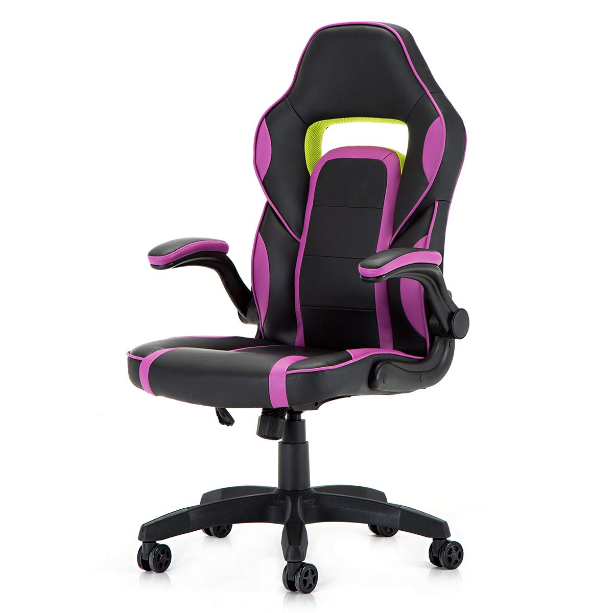 Racing Style PU Leather Gaming Chair - Ergonomic Swivel Computer, Office or Gaming Chair Desk Chair HOT (PUR)