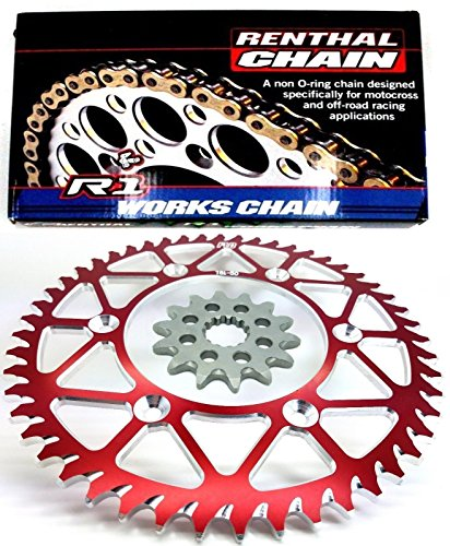 - RENTHAL R1 CHAIN AND SPROCKET COMBO KIT CR250 / CRF450 / CR500 13T FRONT SPROCKET / 48, 49, 50, 51 TOOTH REAR SPROCKET (51T, RED)
