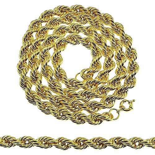 36 Inch Rope Chain 10 mm Gold Finish Twisted Long Bling Dookie Men's Hip Hop ()