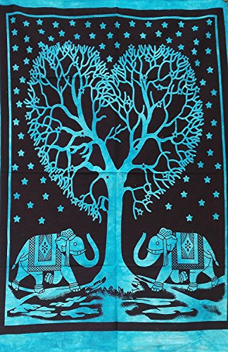 Heart-Tree Multi-Color-Tie-Dye Cotton-Indian-Wall-Hanging Poster-Size-Black-Decor-Throw 42x30-Inches-Tapestry (Sky Blue)