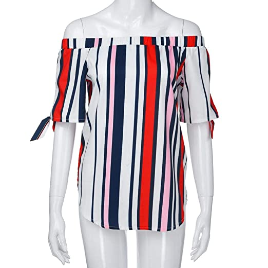 ed9f3edca951 YOUBan Damen Oberteile Lässige Schulterfreie Blusen Mode Hemdshirt Bandage  Streifen Bedruckte Tops T Shirts  Amazon.de  Bekleidung