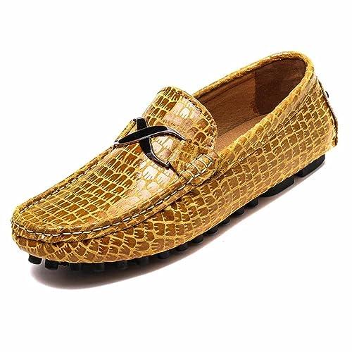 Moonwalker Mocasines para Hombre en Cuero con Estampado de Cocodrilo: Amazon.es: Zapatos y complementos