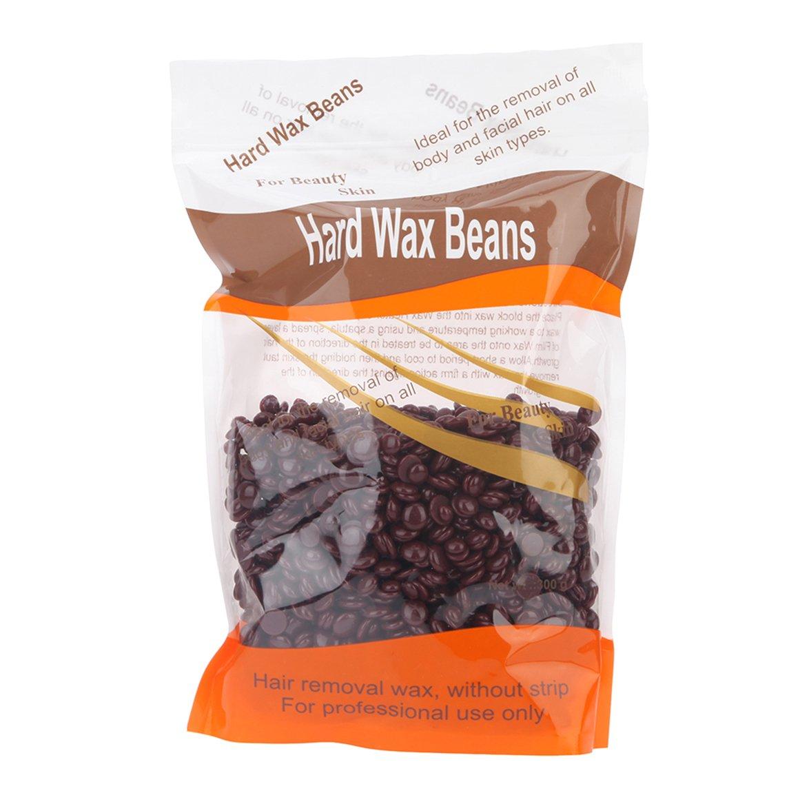Korlin Hard Wax Beans for Face, Underarms, Brazilian, Bikini Hair Remover 10.6 Ounce (Chocolate)