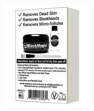 BlackMagic Charcoal Moisturizing Mask Kit Blackhead Peel-Off Mask Witch Hazel Toner Applicator Brush MADE IN USA 4 oz