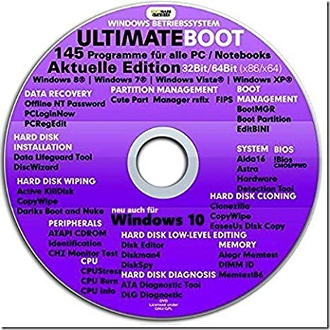 Ultimate Boot CD-DVD (NEU) Notfall-CD-DVD für Windows 10® Windows 7 ... 9228f009bf