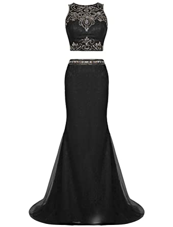 194edf141de ALAGIRLS Two Pieces Long Evening Dress Mermaid Lace Prom Dress Beading  Black US2
