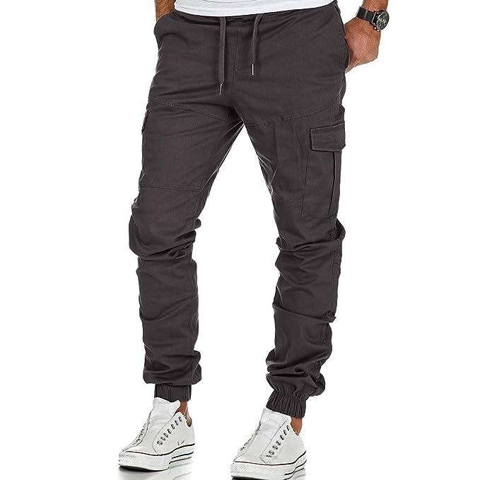 New da Hombre Sport Pure Color Vendaje Casual Pantalones chándal ...