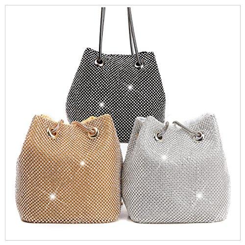 HopeEye waistbag White clutch trends Womens bag Evening polyester wedding Fashion silver 3 wallet rwRr74q