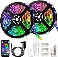 Ruban LED Bleutooth,10M Bande LED 300 LEDs 5050 RGB Étanche,Contrôlé par APP du Smartphone, Synchroniser avec Rythme de...