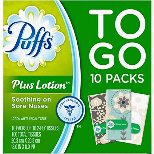 Puffs Plus Lotion Travel-Size Pocket Facial Tissues 10 Tissues per Pack (20 To Go Packs)