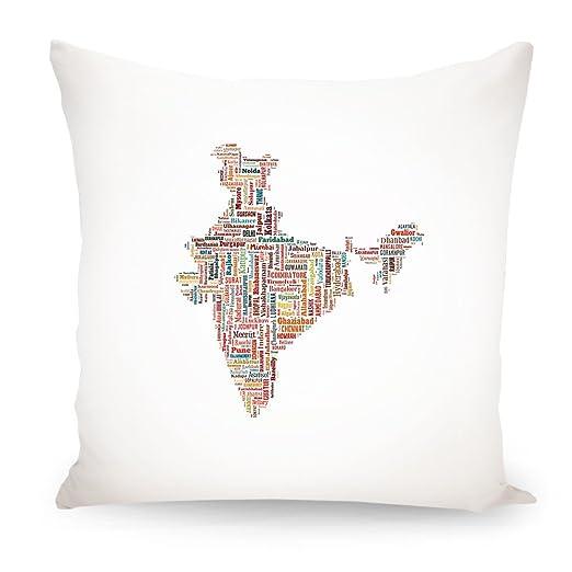 artboxONE cojín India Mapa diseño cojín, poliéster, Blanco ...