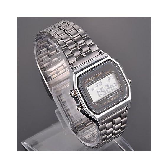 amyove plata grande LED LCD Digital Vintage banda de acero inoxidable retro reloj L: Amazon.es: Relojes
