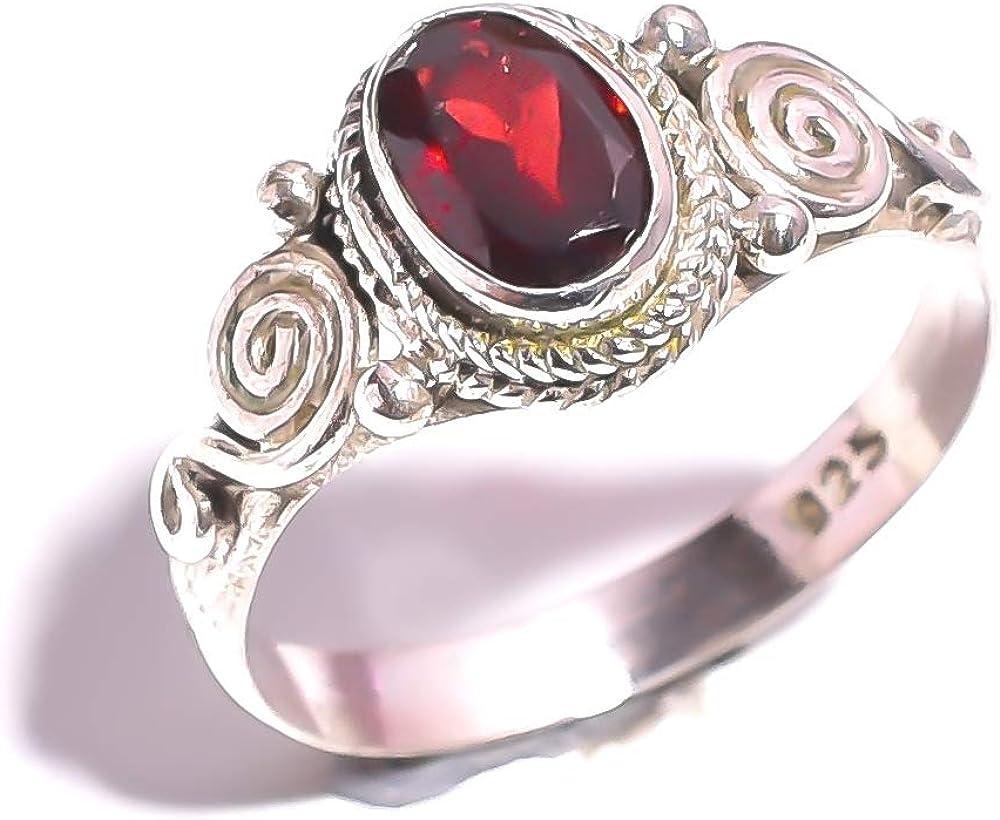 Mughal Gems & Jewellery Anillo de plata esterlina 925 Anillo rojo natural de la joyería fina de la piedra preciosa de Mozambique del granate de Mozambique para las señoras para el regalo (tamaño 6